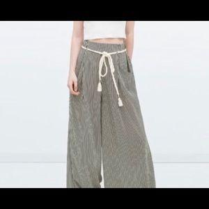 ZARA Palazzo Pants Paper Bag Waist Rope Belt Sz M